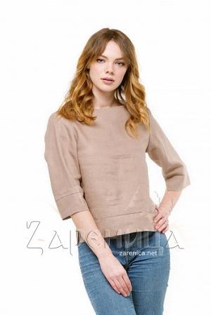 Блуза льняная бежевая,