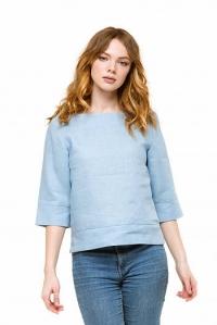 Блуза льняная голубая