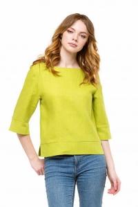 Блуза льняная зелёная