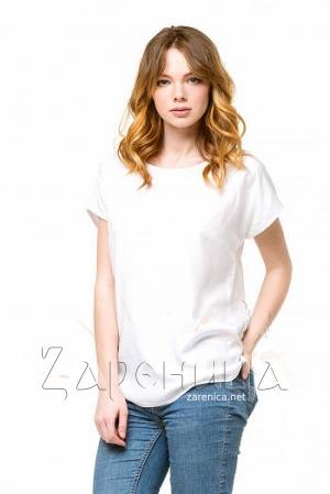 Блуза базовая со спущенным плечом белая,