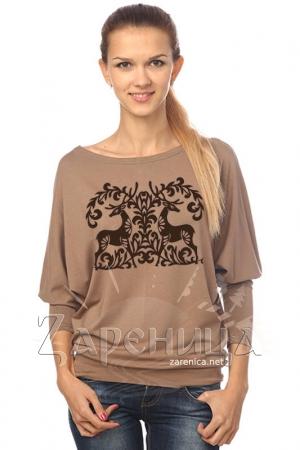 """Блуза """"Сказочные Олени"""" летучая мышь коричневая,"""