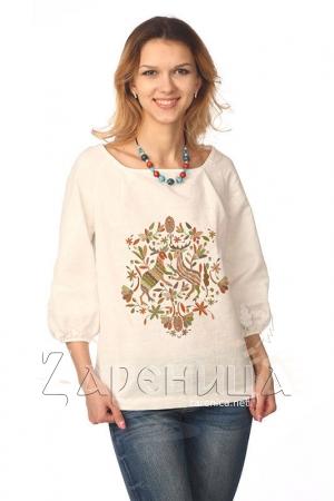 """Блуза """"Русский Север"""" с объёмным рукавом белая,"""