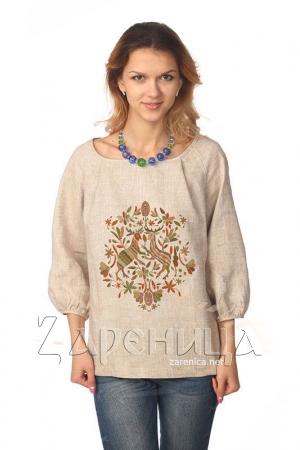 """Блуза """"Русский Север"""" с объёмным рукавом серая,"""