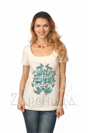 """Блуза с коротким рукавом """"Сказочные Узоры"""" белая,"""