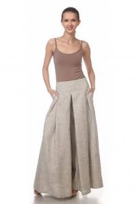 Юбка-брюки льняная серая