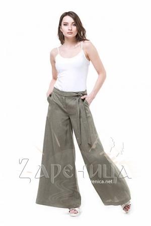 Льняные брюки хакки,