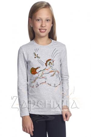 """Джемпер для девочек серый """"Волшебный Конь"""" оранжевый,"""