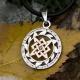 Оберег Звезда Лады в круге Солнца с камнем с позолотой