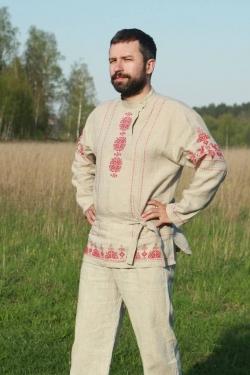 """Косоворотка """"Богатырь"""" с обережной вышивкой"""