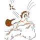 """Джемпер для девочек белый """"Волшебный Конь"""" оранжевый"""