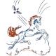 """Джемпер для девочек бежевый """"Волшебный Конь"""" синий"""