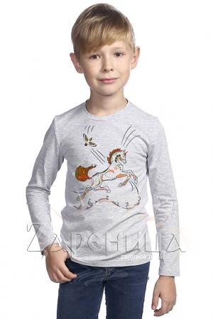 """Джемпер для мальчиков серый """"Волшебный Конь"""" оранжевый,"""