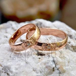 Кольца со Свадебником с камнем золотые,