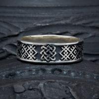 Кольцо обережное со Звездой Лады с чернением