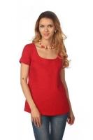 Блуза с коротким рукавом красная