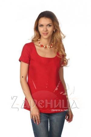 Блуза с коротким рукавом красная,