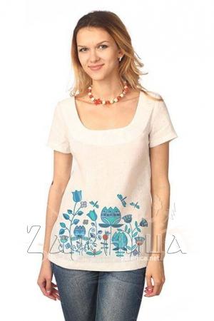 """Блуза с коротким рукавом """"Небесный Цвет"""" белая,"""