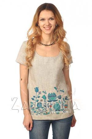 """Блуза с коротким рукавом """"Небесный Цвет"""" серая,"""