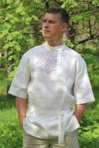 Косоворотка с ручной вышивкой белая