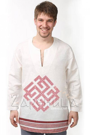 """Рубаха льняная белая """"Сварожич"""","""
