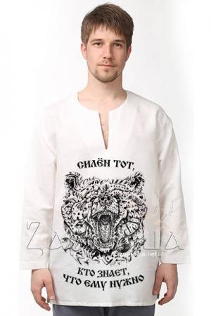 Рубаха льняная «Дитя Велеса» белая,
