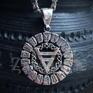 Знак Велеса в славянском рунном круге с чернением,