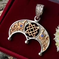Оберег Звезда Лады в Луннице с позолотой и камнями